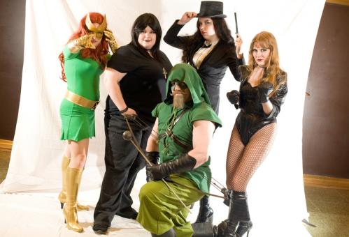 Group shot. Clockwise from back left: Laura Johnson as Marvel Girl, Beth Ingham as Death from Sandman Comics, Martha Bartlet as Zatanna, Jessica Jackson as Black Canary, and Brian Chamberlin as Green Arrow. More info on the Back Bay Events Center SUBMIT Your nightlife photos! TALK What scene should we visit next?