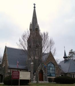 Passengers would pass by the Unity Church in North Easton if the Stoughton Alternative is built to take commuters from Boston to New Bedford and Fall River.