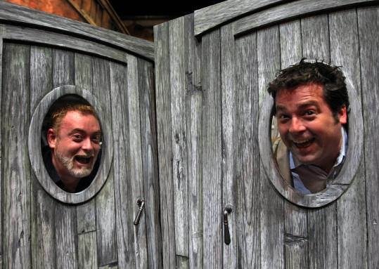 Playwright David Grimm (left) and Huntington artistic director Peter DuBois, on the set of their show ''The Miracle at Naples.''