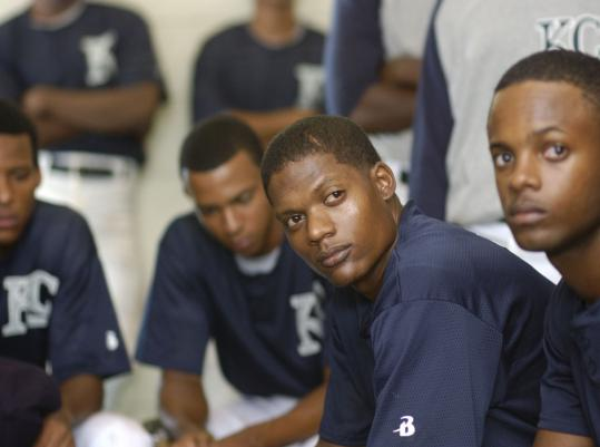 Algenis Perez Soto (center) plays a talented Dominican pitcher nicknamed ''Sugar.''