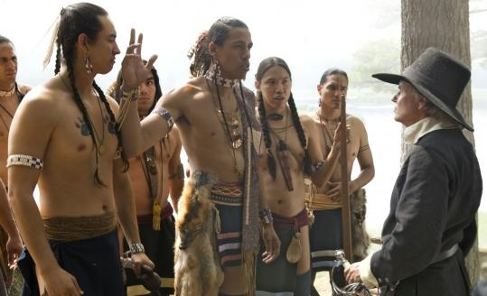 Among the many reenactments in the series is this meeting between Wampanoag tribesmen and a European settler.