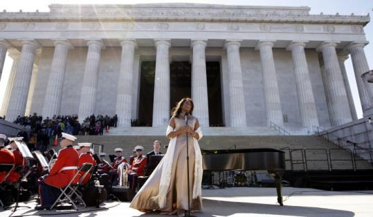 Opera star Denyce Graves, wearing one of Marian Anderson's gowns, performed three songs Anderson sang 70 years ago.