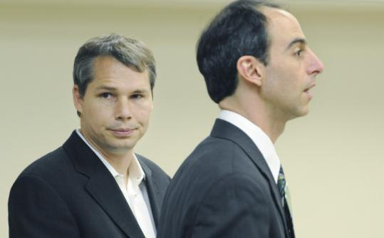 Frank Shepard Fairey (left) appeared in Boston Municipal Court yesterday with his lawyer, Jeffrey Wiesner.