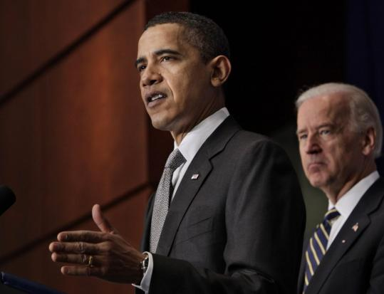 President Obama, in Washington yesterday with Vice President Joe Biden, said he is ''resolved'' to halt the rise of piracy in international waters off the Horn of Africa.