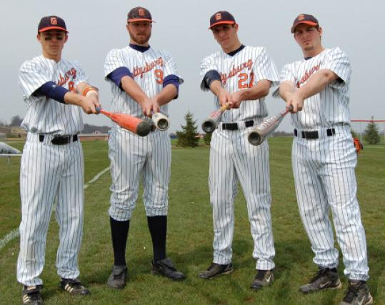 Area players (from left) Chris Simard, Matt Karis, Drew Roy and Cam Riera are a hit at Gettysburg.