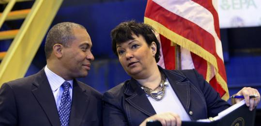 Governor Deval Patrick spoke with EPA chief Lisa P. Jackson yesterday at a federal filtration plant in New Bedford Harbor.