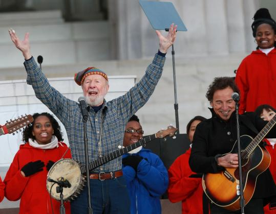 Pete Seeger and Bruce Springsteen perform 'This Land Is Your Land' before President Obama's inauguration.