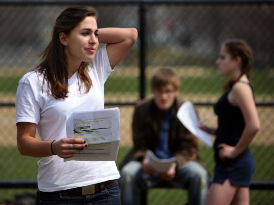 Brookline High School senior Cecilia Brown, rehearsing a play yesterday with Alex Portenko and Anne Mortland, has been placed on the waiting list of three colleges.