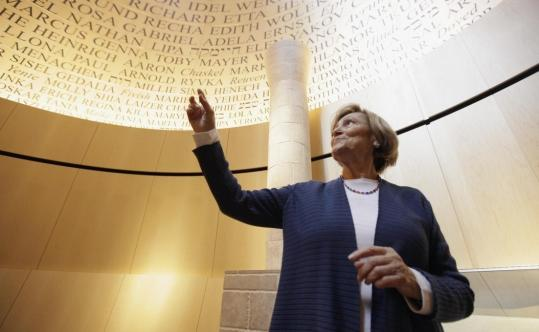 Fritzie Fritzshall, a Holocaust survivor, found the name of a late relative in the ''Room of Remembrance'' at the Illinois Holocaust Museum and Education Center in Skokie, Ill.