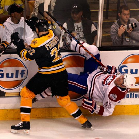 The Bruins' Shawn Thornton made it a point to keep Andrei Kostitsyn and the Canadiens off balance for the entire evening.