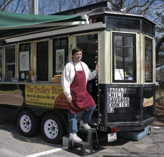 Ed Hyman and his wife left other careers to start two Trolley Stops, this one in Framingham.