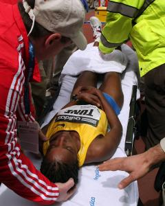 Dire Tune was taken to Massachusetts General Hospital for observation after collapsing at the finish line.