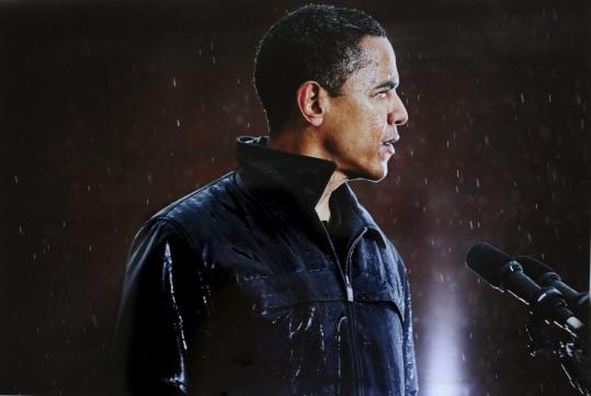 This shot of Barack Obama speaking in Chester, Pa., during a rainstorm was among those that won New York Times photographer Damon Winter the Pulitzer Prize for feature photography.