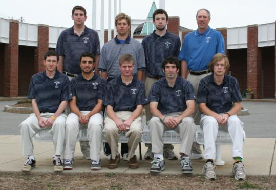 Led by Aaron Hattenbach (front row, left), the Brandeis golf team raised $22,000, saving the program for another season.