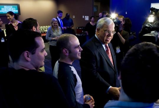 Mayor Thomas M. Menino mingled with Digitas office workers yesterday after announcing he will run for an unprecedented fifth term.