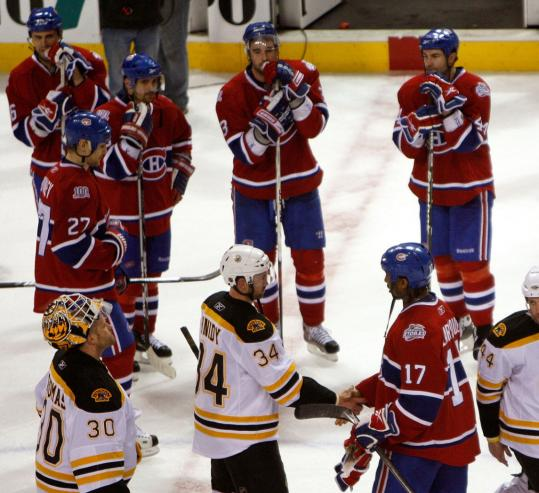 For the first time in a decade, the Bruins got to go through a handshake line as the victors.