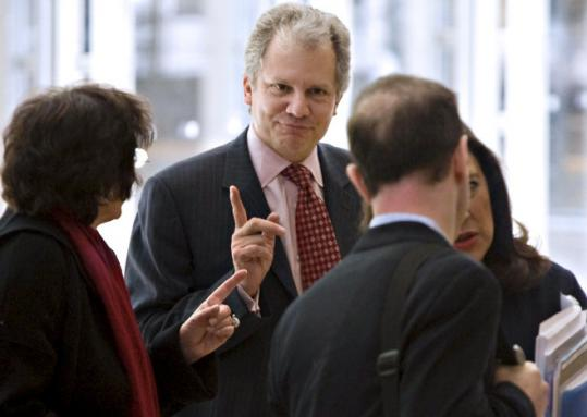 Arthur Sulzberger spoke with reporters following The New York Times Co. shareholders meeting yesterday.
