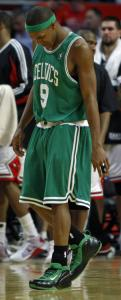 Rajon Rondo appears to be in pain as he walks to the bench late in the game.