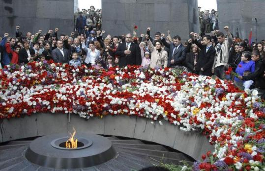 Armenians marked the 94th anniversary of the mass killings, yesterday in Yerevan. Armenians accuse the Turks of genocide in the deaths of up to 1.5 million Armenians during World War I.