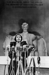 Blocked from the concert halls of Washington, D.C., by racist policies, Marian Anderson performed before a crowd of thousands at the Lincoln Memorial.