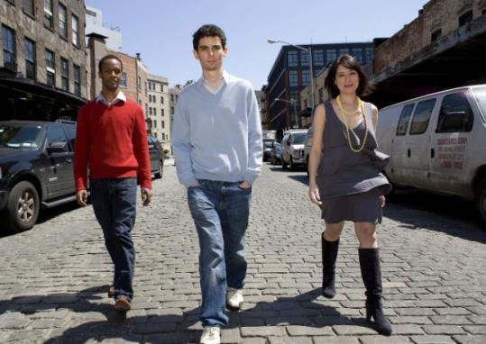 Damien Chazelle (center) directed Jason Palmer and Desiree Garcia in the film, which was done in Boston.