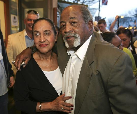 Luis Tiant with his wife, Maria, before Saturday's screening of 'The Lost Son of Havana' in Somerville.