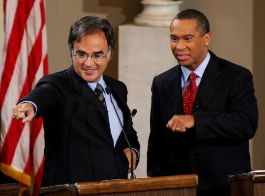 Christy Mihos (left) and Deval Patrick debated during the Massachusetts gubernatorial election in October 2006.