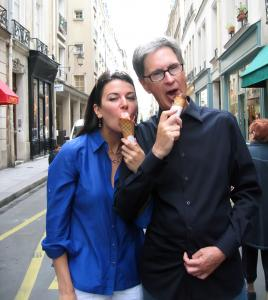 John Henry and Linda Pizzuti, pictured eating ice cream cones in Paris in Boston magazine.