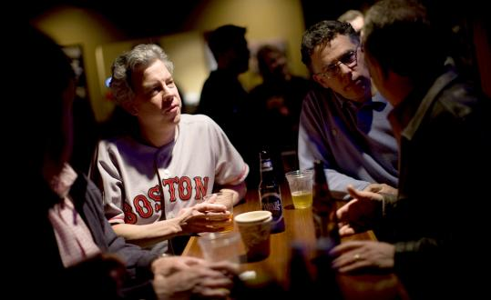 Ted Price and David Domeshek at a recent Fathers Forever session at a Boston pub. All in the group have lost a child, but their get-togethers are more about camaraderie than grief.