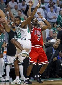The Bulls' Ben Gordon, who had 26 points, hits a fourth-quarter 3-pointer in front of the Celtics bench as Tony Allen gets over a bit too late on defense.
