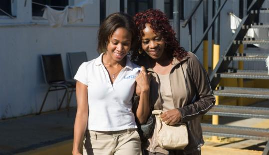 Nicole Beharie (left) and Alfe Woodward in ''American Violet.''