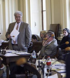 New Hampshire State Senator Ted Gatsas of Manchester, a Republican, speaks yesterday during debate over gay marriage at the State House in Concord.