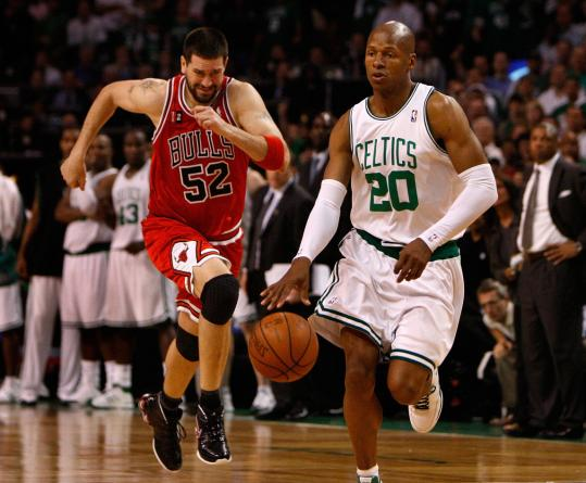 The Bulls' Brad Miller couldn't chase down Ray Allen, who led the Celtics with 23 points.