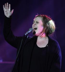 MATTHEW J. LEE/GLOBE STAFFAdele delivered an assured, 75-minute performance at a sold-out Orpheum.