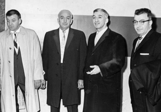 Four Angiulo brothers, appearing at the Suffolk County Court House during a grand jury probe of the Massachusetts Turnpike Authority. From left: Michele, Nicolo, Gennaro, and Donato.