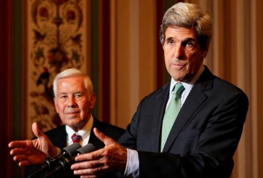 Senators John F. Kerry and Richard Lugar discussed the measure yesterday at a joint news conference on Capitol Hill. The money would fund roads, schools, and clinics in Pakistan.