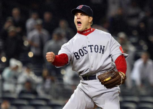 Jonathan Papelbon has something to shout about - getting out of a bases-loaded jam in the ninth to earn his seventh save.