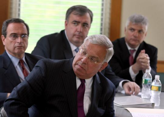 From front, Mayor Thomas M. Menino, Secretary of Public Safety Kevin M. Burke, Police Commissioner Edward F. Davis, Suffolk District Attorney Dan