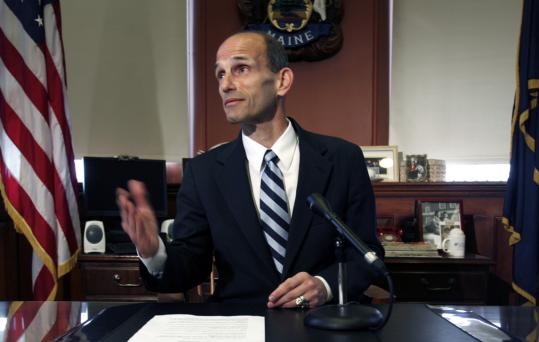 Governor John Baldacci of Maine signed the state's gay marriage bill into law yesterday. Baldacci, a Democrat who previously opposed same-sex marriage, said his opinion had evolved.