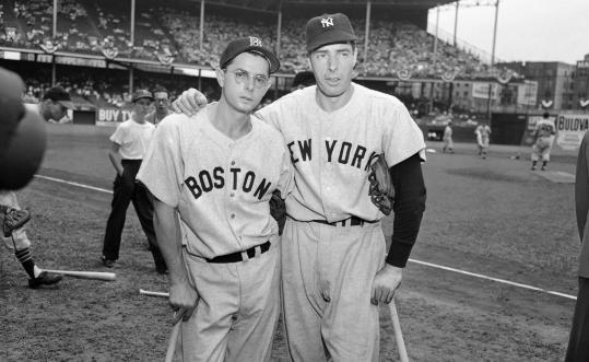 Red Sox star Dom DiMaggio stood with brother Joe in July 1949. Dom hit safely in 34 consecutive games, a Red Sox record, that year.