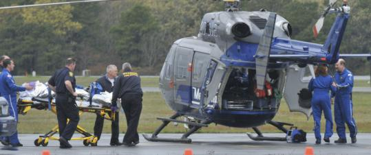 Senator Edward M. Kennedy was rushed to a helicopter at Barnstable Municipal Airport to be transported to Massachusetts General Hospital on May 17, 2008.