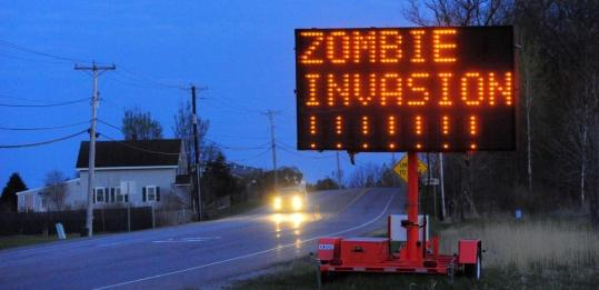 TRAFFIC MISINFORMATION - Hackers apparently reprogrammed highway signs around the country recently, including on Route 7 in Colchester, Vt. Police are investigating.