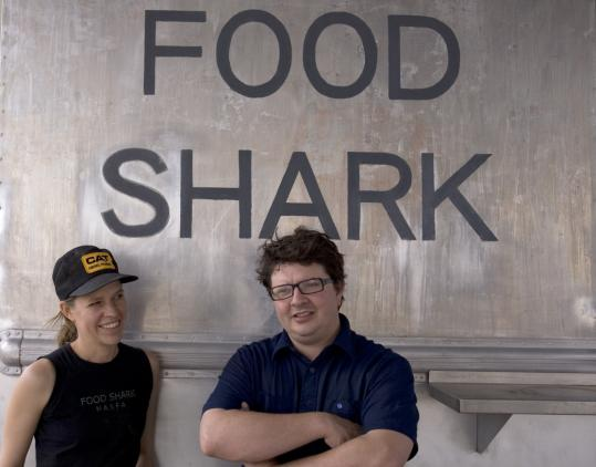 JONATHAN LEVITT FOR THE BOSTON GLOBEKrista Steinhauer and Adam Bork run the Food Shark truck in the town of Marfa, Texas.