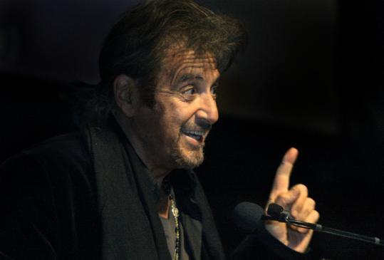 Al Pacino speaks at the 27th annual Elliot Norton Awards ceremony last night at Sanders Theatre.