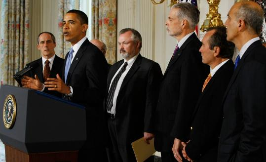 President Obama, flanked by healthcare industry officials at the White House, called the cost-cutting pledge a ''watershed event.''