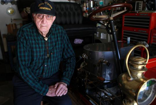 Arthur Funai of Lynnfield has been restoring a 1904 Grout Steam Car in his garage since 1956.