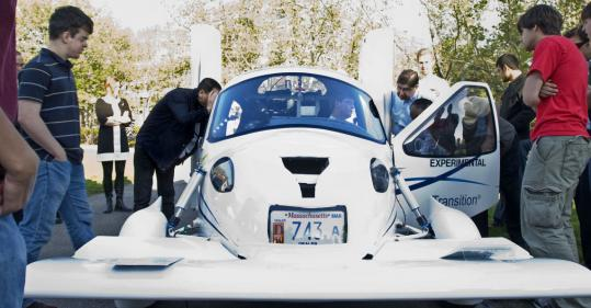 The Terrafugia flying car was on display at the MIT $100K Entrepreneurship Competition.