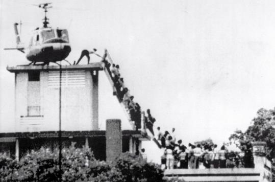 Hugh Van Es's iconic image of the helicopter escape from a Saigon rooftop on April 29, 1975.
