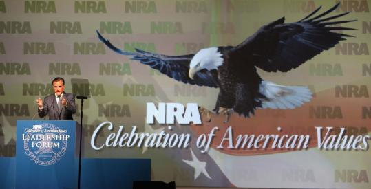 Mitt Romney spoke at the National Rifle Association meeting yesterday in Phoenix. The former Massachusetts governor said the United States is more vulnerable to terrorist attacks.