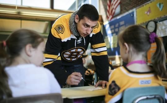 Milan Lucic at L.F. Dewing School in Tewksbury